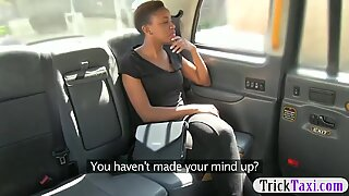 Ebony babe pounded by nasty fake driver