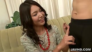 Three fat ramrods for Megumi Shino to blow